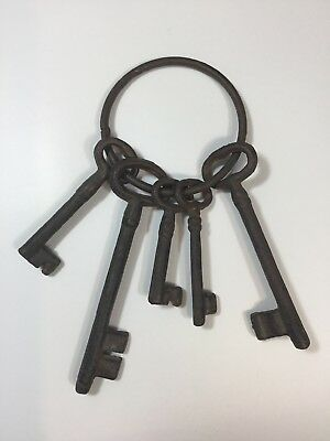 Bunch of Large Old Keys On A Ring Heavy Rustic Display
