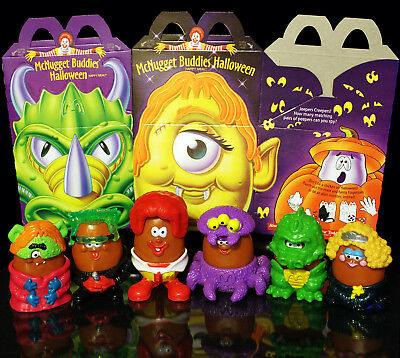 McDonalds McNugget Buddies Vtg Halloween Happy Meal Complete Set of Boxes & Toys