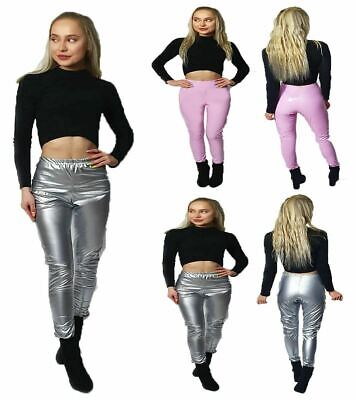 Womens Ladies Girls Shiny PU Leather Vinyl Legging Club Dance Party Casual Pants