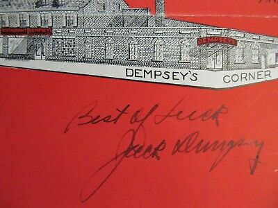 Jack Dempsey's Restaurant Menu with REAL Signature Autograph July 14, 1935