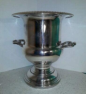 """Vintage W & S Blackinton Silver Plate Champagne Ice Bucket 10"""" Floral Handles"""