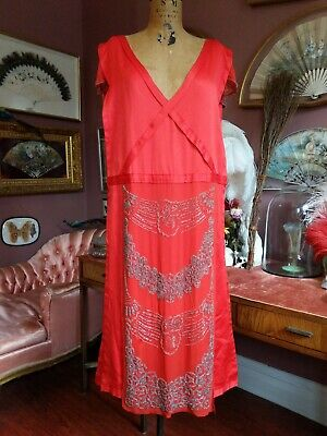 Antique Dress Vintage 1920s Red Silk Embroidered Tabard Art Deco Flapper Dress