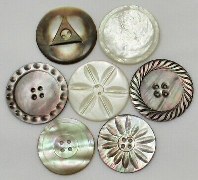 Antique Vintage Shell Buttons~ Carved Mother-of-Pearl, Abalone~ Mixed Lot Large