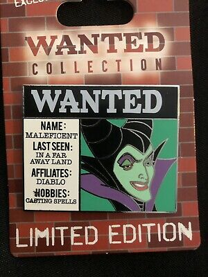 NEW Disney Cast Member Wanted Poster Collection Monthly Pin Maleficent