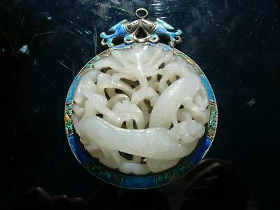 A Well Carved Antique Chinese White Jade And Enamel Silver Pendant