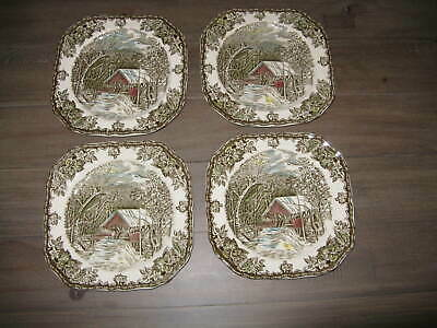4 Johnson Brothers FRIENDLY VILLAGE Square Salad Plate The Covered Bridge