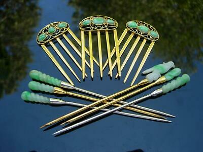 Group Of Antique Chinese Apple Green Jade & 14K Gold & Silver Hair Ornaments
