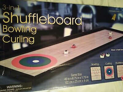 3 in 1 Tabletop Games Shuffle Board Bowling /& Curling Fathers Day Gift Novelty