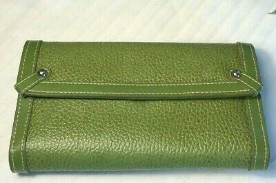 Franklin Covey Green Clutch Wallet, Leather/Faux Purple inside Fabric, Pockets