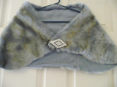 Wraparound faux fur stole blue gold shot fur OSFA EUC