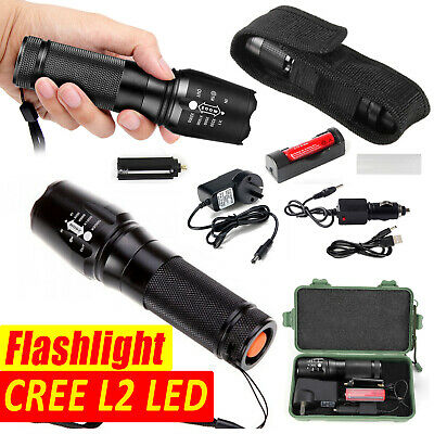 60000LM SHADOWHAWK LED FLASHLIGHT RECHARGEABLE TACTICAL TORCH 2x BATTERY