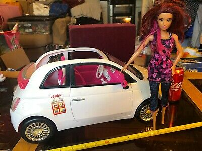 White Fiat 500 Car and Doll Mattel Barbie Doll Figure Official Original Toy