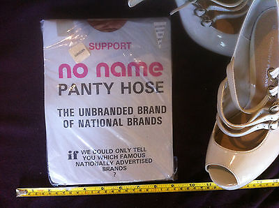 No Name Panty Hose Support Brown Biege Maternity Large Vintage 70's Hosiery New