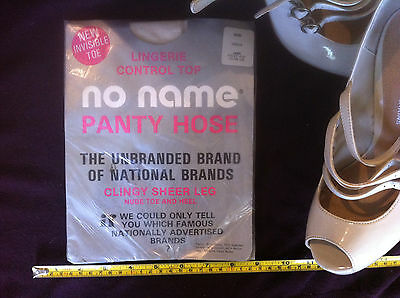 No Name Panty Hose Lingerie Control Top Vanilla Large Vintage 70's Hosiery New
