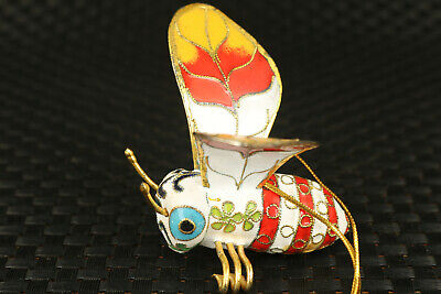 Ancient art chinese old Cloisonne Hand Carved bee Statue pendant netsuke gift