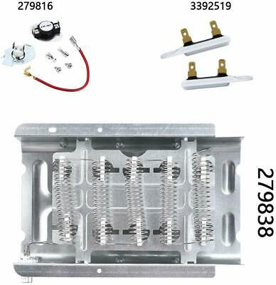 Dryer Heating Element Thermal Fuse Thermostat Kit for Whirlpool LEC8858EZ2