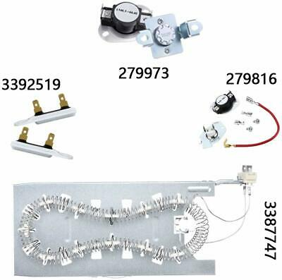 Dryer Heating Element Thermal Fuse THermostat Kits for Whirlpool Kenmore Samsung