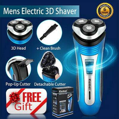 Mens Electric Rotary Shaver Rechargeable 3D Triple Floating Head Wet Dry Razor