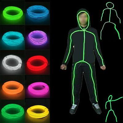 UK EL Wires Neon RGB Color Lights LED Stick Figure Kit Luminous Stage Costumes