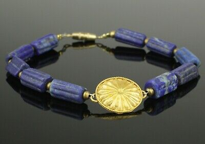 BEAUTIFUL ANCIENT GOLD & LAPIS BEAD BRACELET   2nd Century AD   (611)