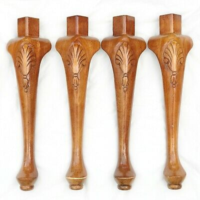 Vintage Wood Wooden Coffee Table Legs X 4 Carved Decoration