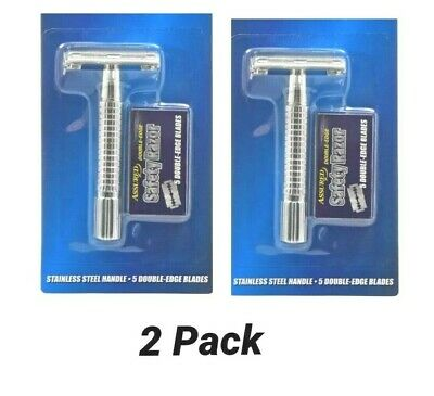 NEW Assured Stainless steel double edge safety razor and 5 Extra Blades(2PACK)