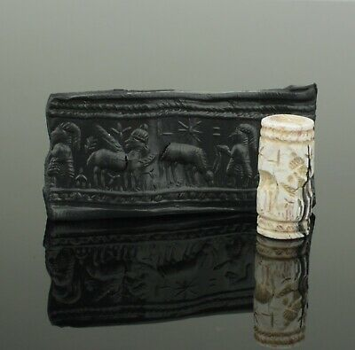 Ancient Near Eastern Hard Stone Cylinder Seal - Circa - 1200 - 950 Bc
