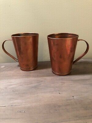 Vtg 2 Solid Copper Metal Mugs Steins 20 Ounce Hand Forged Moscow Mule