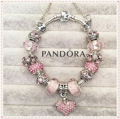Authentic Pandora Charm Bracelet Silver Pink LOVE HEART with European Charms