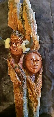 """Native American Indian and Eagle 30"""" Wood Spirit Carving"""