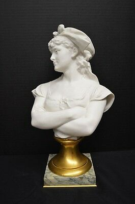 "Antique Bisque Portrait Bust of a Woman ""Dorine"" by Léopold Harzé"