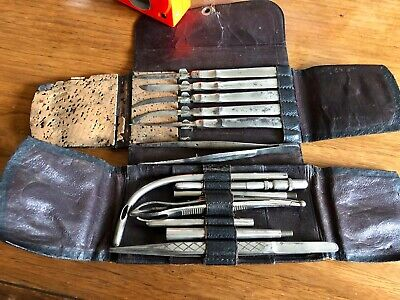 Antique Late 1800's Field Surgical Kit, German Marked, Blood Stained