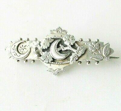 Victorian antique solid silver sterling sweetheart brooch Chester hallmarks 1895