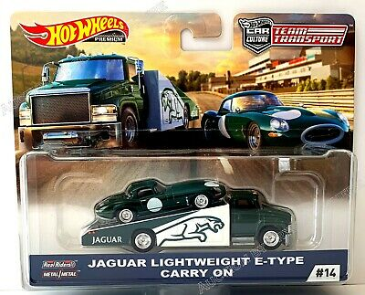 Hot Wheels Team Transport 2019 #14 Jaguar Lightweight E-Type & Carry On In Stock