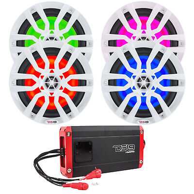 "8"" LED Multicolor Marine Motorsports Speakers - 2 Pairs (White) - 4 Channel Amp"