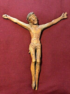 Late 15Th Century Medieval Carved Wood Corpus For Crucifix Ca. 1490