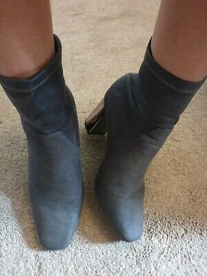 New Look Heeled Ankle Boots Grey With Metallic Heel Going Out Size UK 9 43