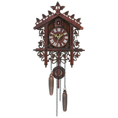 1 Pcs Retro Vintage Wood Cuckoo Wall Clock Hanging Handcraft for Living J3G0