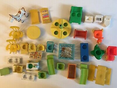 Vintage Fisher Price Little People Play Set Accessories Lot Furniture 33 🔥
