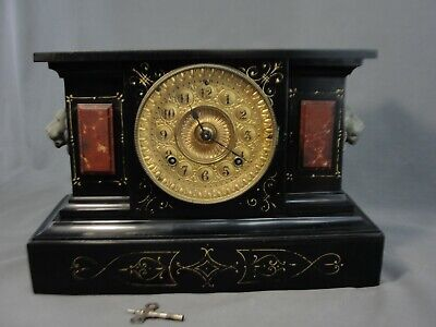 Antique Ansonia Mantel Clock Fancy Face Faux Marble Painted Cast Iron Working