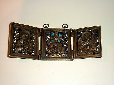 Antique Russian Enamel Bronze Traveling 3-Folded Icon Nice Condition !