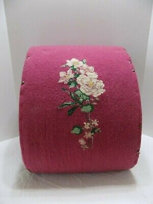 1901 Victorian Needlepoint Curved Carved Wood Foot Art Stool Bench 1 Of A Kind