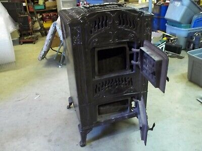 Antique Brown Enamel Cast Iron Parlor Wood Stove Ornate  #46 Tropic by Wehrle