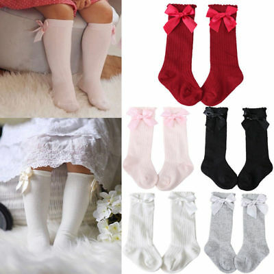 Toddler Kid Baby Girl Knee High Long Socks Bow Cotton Casual Stockings 0-4Y UK+