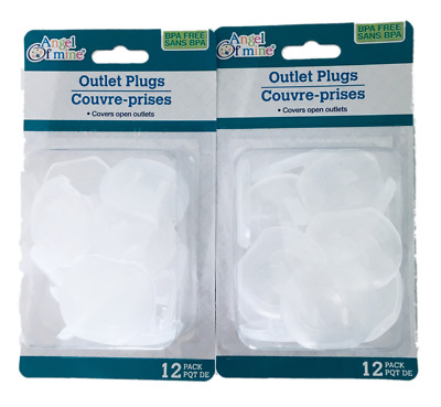 Safety Child Outlet Plugs by Angel of Mine 2 - 12 Packs 24 Plugs!  NIB