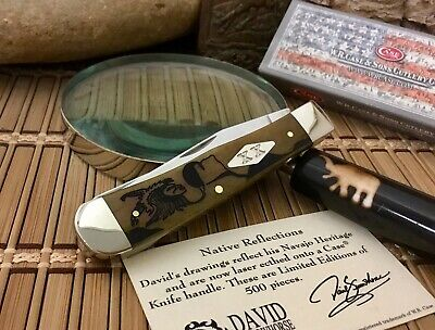 Case XX USA David YELLOWHORSE Antique Bone EARLY MORNING SINGER Trapper Knife