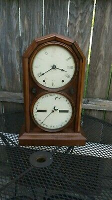 antique seth thomas walnut cased double dial shelf calendar clock parts/restor.