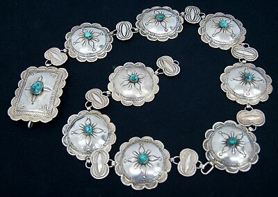 Native American Indian Zuni Turquoise Conch Belt Sterling Silver Tested (A4577)