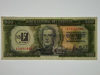 Uruguay 1967 500 Pesos Banknote in About Uncirculated Condition
