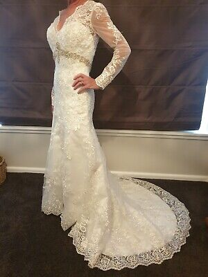 White/Ivory Lace/Satin Mermaid Wedding Dress Bridal Gown Formal Stock Size 8